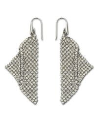 Swarovski | Metallic Fit Silver Shade Mesh Statement Earrings | Lyst