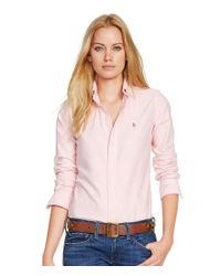Polo Ralph Lauren | Pink Custom-fit Washed Oxford Shirt | Lyst