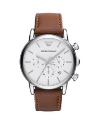 Emporio Armani - Men ́s Classic Brown Leather Strap Stainless Steel Chronograph Watch for Men - Lyst