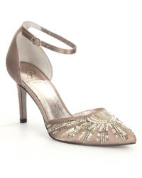 Adrianna Papell | Metallic Hollis Satin Sequin Pointed-toe Ankle Strap Pumps | Lyst
