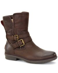UGG | Brown ® Simmens Cold-weather Decorative Buckle Leather Boots | Lyst