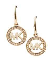 Michael Kors | Metallic Logo Pavé Drop Earrings | Lyst
