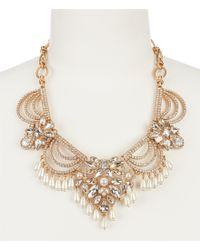 Belle By Badgley Mischka - Metallic Fancy Pearl Tassel Statement Necklace - Lyst