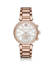 Michael Kors | Metallic Rose Gold-tone Sawyer Stainless Steel Bracelet Chronograph Watch | Lyst