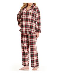Lauren by Ralph Lauren | Red Plus Notch-collar Brushed Twill Pajamas | Lyst