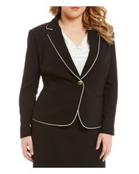Tahari - Black Plus Crepe Skirt Suit - Lyst
