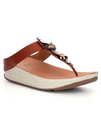 Fitflop | Brown Jeweley Leather Jeweled Toe Post Thong Style Slip On Sandals | Lyst