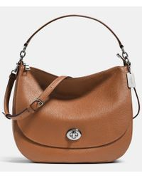 COACH | Blue Turnlock Hobo In Pebble Leather | Lyst