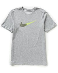 Nike | Gray Swoosh Dri-fit Crewneck Cotton Tee for Men | Lyst