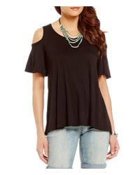 Bobeau - Black Short Sleeve Solid Knit Cold Shoulder Top - Lyst