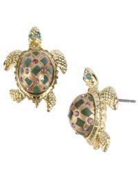 Betsey Johnson | Metallic Gold-tone Turtle Stud Earrings | Lyst