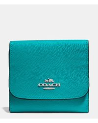 COACH - Blue Small Wallet In Crossgrain Leather - Lyst