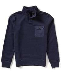 Timberland | Blue Browns Rugged Funnel Neck Elbow-patch Sweatshirt for Men | Lyst