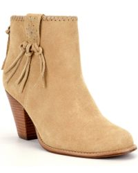 Jack Rogers   Natural Greer Suede Whipstitch Lacing Tassel Detail Booties   Lyst