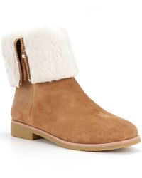 kate spade new york | Brown Baja Suede Faux Fur Lined Fold-over Boots | Lyst