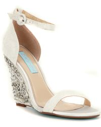 Betsey Johnson | White Blue By Alisa Wedge Sandals | Lyst