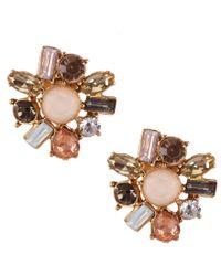 Belle By Badgley Mischka - Metallic Stone Cluster Stud Earrings - Lyst