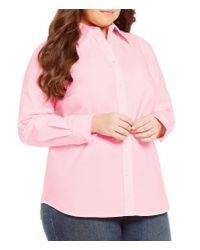 Lauren by Ralph Lauren | Pink Plus Stretch Cotton Shirt | Lyst
