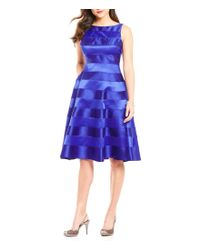 Adrianna Papell | Purple Adrinna Papell Stripe Tea Length Fit-and-flare Dress | Lyst