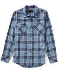 Hurley   Blue Long-sleeve Landon Flannel Plaid Shirt for Men   Lyst