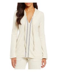 Lucky Brand | Natural Embroidered Lounge Hoodie | Lyst