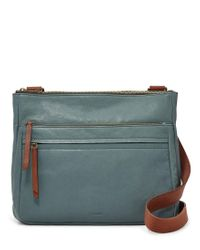 Lyst - Fossil Corey Large Cross-body Bag in Blue d5e552e96a