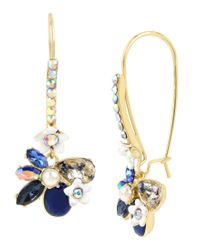 Betsey Johnson - Blue Faceted Stone Flower Drop Earrings - Lyst