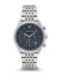 Emporio Armani | Metallic Chronograph & Date Bracelet Watch for Men | Lyst