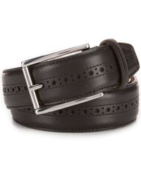 Cole Haan | Black Stitched Pressed Edge Leather Belt for Men | Lyst
