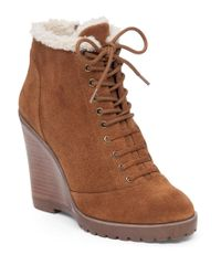 Jessica Simpson | Brown Kaelo Lace Up Wedge Bootie | Lyst