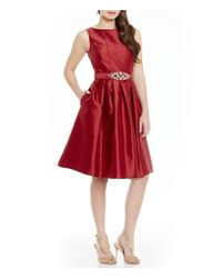 Eliza J | Red Beaded Belt Midi Fit-and-flare Dress | Lyst