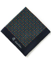 Brooks Brothers | Green Plaid Link/duck Printed Silk Pocket Square for Men | Lyst
