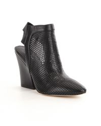 Guess | Black Norine Perforated Leather Slip-on Block Heel Booties | Lyst