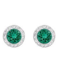 Swarovski | Green Angelic Crystal Stud Earrings | Lyst