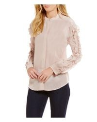 Guess | Pink Darling Ruffled-sleeve Top | Lyst