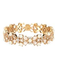 kate spade new york | Metallic Gold-tone Imitation Pearl And Crystal Hinged Bangle Bracelet | Lyst