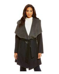 MICHAEL Michael Kors | Gray Wool Shawl Collar Double Face Wrap Coat | Lyst