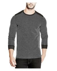 Guess | Gray Mason Long-sleeve Quilted Jacquard Knit Tee for Men | Lyst