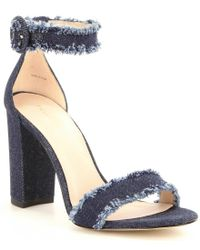 Pelle Moda | Blue Bonnie Frayed Denim Block Heel Dress Sandals | Lyst
