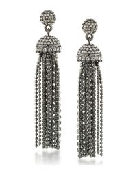 Carolee - White Gotham Tassel Drop Statement Earrings - Lyst