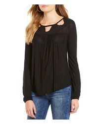 Jessica Simpson | Black Fifi Cutout Embroidered Peasant Top | Lyst