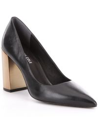Kenneth Cole | Black Margaux Leather Pointed-toe Pumps | Lyst