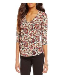 Lucky Brand | Multicolor V-neck 3/4 Sleeve Pintuck Printed Knit Top | Lyst