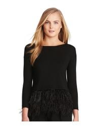 Polo Ralph Lauren | Black Crew Neck 3/4 Sleeve Feather-trimmed Sweater | Lyst