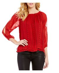 Sanctuary | Red Chantel Off-the-shoulder 3/4 Sleeve Solid Boho Top | Lyst