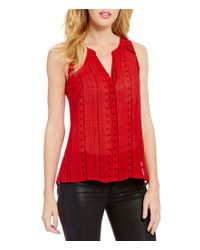 Sanctuary   Red Holiday Craft V-neck Sleeveless Button Front Solid Top   Lyst