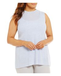 Eileen Fisher | Multicolor Plus Mock Neck Sleeveless Solid Top | Lyst