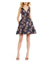 Betsey Johnson | Blue V-neck Sleeveless Floral Jacquard Fit-and-flare Dress | Lyst