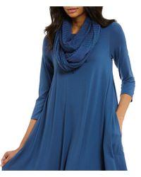 Eileen Fisher   Blue Airy Linen Cashmere Stripe Scarf   Lyst