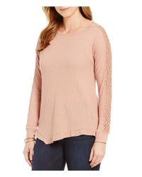 Democracy   Pink Long Sleeve Knit Top With Cut-out Neckline Detail   Lyst